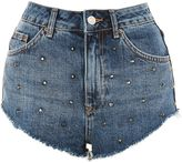 Topshop MOTO Studded Frayed Hem Kiri Shorts