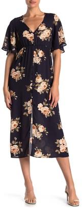 Kenedik Angel Sleeve Floral Print Dress
