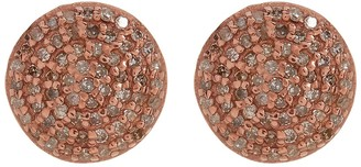 ADORNIA Rose Gold Plated Sterling Silver White Diamond Pave Round Stud Earrings - 1.00 ctw