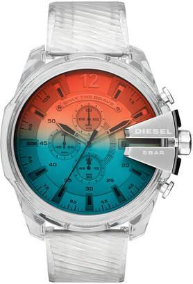 Diesel Men Chronograph Mega Chief Clear Polyurethane Strap Watch 51mm
