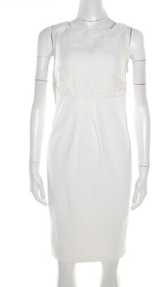 Max Mara Off White Linen Bodice Detail Sleeveless Midi Dress S