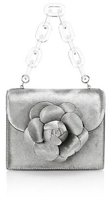 Oscar de la Renta Mini Tro Metallic Calf Hair Top Handle Bag