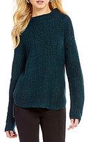 Westbound Mock Neck Dolman Sleeve Hi-Low Hem Sweater