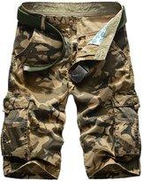 Panegy Men Cargo Short Camo-Print Multi Pockets Outdoor Travel Tactical Dungaree Tag Size 31 - Khaki