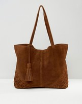 Asos Suede Shopper Bag With Weave Corners