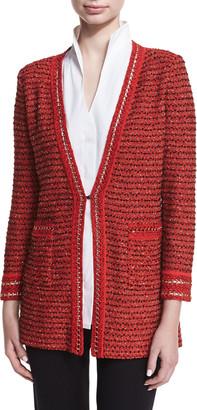 Misook Petite Long Boucle Chain-Detail Jacket