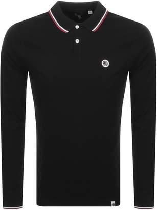 Pretty Green Hartford Long Sleeve Polo Shirt Black