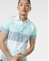 Express short sleeve multi stripe cotton shirt