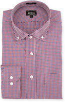 Neiman Marcus Classic-Fit Regular-Finish Plaid-Print Dress Shirt, Red