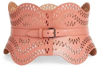 Alaia Leather Vague Wave Corset Belt