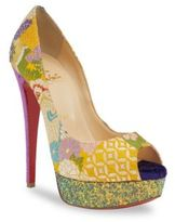 Christian Louboutin Classique Lady Peep 150 Floral & Glitter Platform Peep Toe Pumps