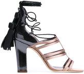 Jimmy Choo Diamond 100 sandals - women - Calf Leather/Viscose/Leather - 36