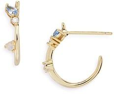 Argentovivo Cubic Zirconia & Stone Huggie Hoop Earrings
