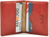 Tony Perotti Mens Italian Bull Leather [Personalized Initials Embossing] Thin Bifold Credit Card Holder Wallet in Red
