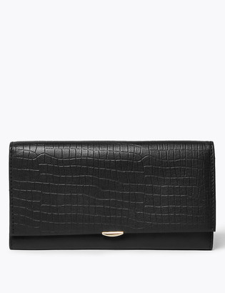 Marks and Spencer Leather Croc Effect Cardsafe Purse