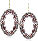 Miguel Ases Amethyst Quartz Embroidered Oval Drop Earrings