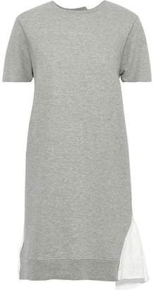 Clu Ruffled Twill-paneled French Cotton-blend Terry Mini Dress