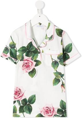 Dolce & Gabbana Kids Rose-Print Pyjama Style Blouse