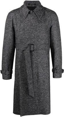 Tagliatore Belted Herringbone Coat