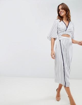 The Jetset Diaries Aries Stripe Shirt Dress-Blue