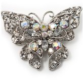 Avalaya Clear Crystal Filigree Butterfly Brooch