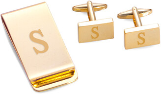 Bey-Berk Gold Plated Rectangular Design Cufflinks & Money Clip Set