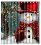 "Christmas Snowman Gift Tree Santa Design of Waterproof Bathroom Fabric Shower Curtain with 12hooks 66""x72"""