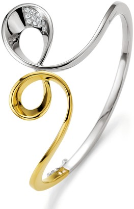 Breuning Two-Tone 18K Gold Plated Sterling Silver White Sapphire Abstract Wave Bracelet