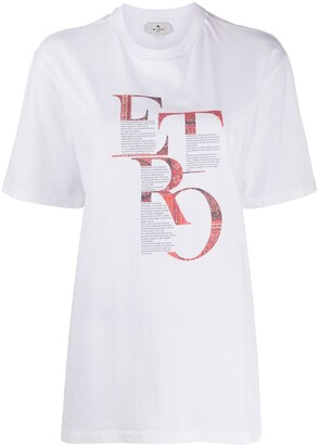 Etro longline graphic print T-shirt