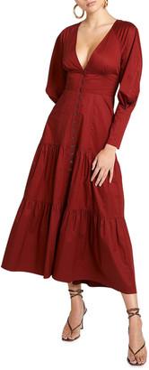 A.L.C. Fleur Long-Sleeve Tiered Cotton Maxi Dress