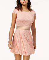 City Studios Juniors' Illusion-Waist Lace Fit & Flare Dress