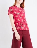 Valentino Lotus-print short-sleeved silk top