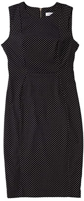 Calvin Klein Printed Sheath Dress (Black/White) Women's Dress