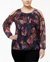 INC International Concepts Plus Size Cold-Shoulder Floral-Print Top, Created for Macy's