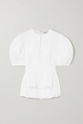 Alexander McQueen Pleated Cotton-poplin Peplum Blouse