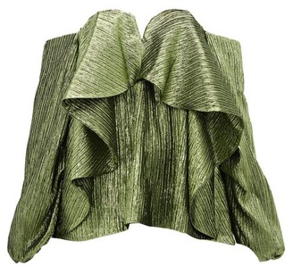 Halpern Metallic Draped Lame Bustier Blouse - Womens - Green