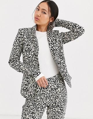 Ichi leopard print suit jacket-Multi