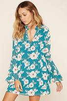 Forever 21 Floral Print Bell-Sleeved Dress