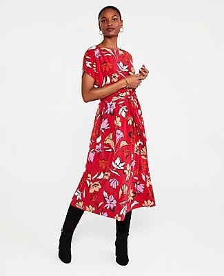 Ann Taylor Floral Tie Waist Flare Dress