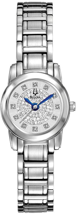 Bulova Women's Diamond (3/10 ct. t.w.) Stainless Steel Bracelet Watch 21mm 96P143