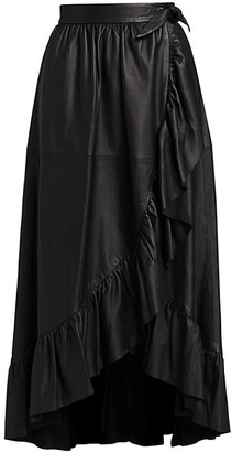 Zimmermann Ladybeetle Leather Wrap Midi Skirt