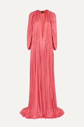 Ann Demeulemeester Gathered Habotai Maxi Dress - Pink