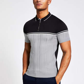 River Island Navy blocked muscle fit knitted polo shirt
