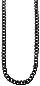 Sutton by Rhona Sutton Sutton Stainless Steel Black Curb Link Chain Necklace