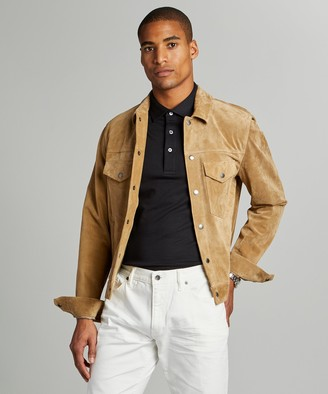 Todd Snyder Italian Suede Snap Dylan Jacket in Saddle Tan