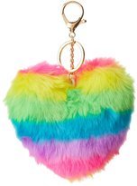 Charlotte Russe Faux Fur Rainbow Heart Key Chain