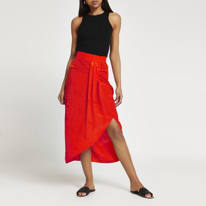 Thumbnail for your product : River Island Womens Orange twist slip midi skirt