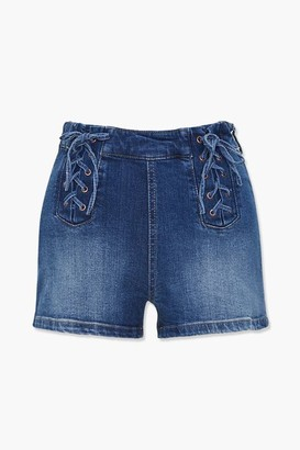Forever 21 Lace-Up Denim Shorts