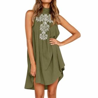 Women's Dresses Womens Holiday Irregular Dress Ronamick Ladies Summer Beach Sleeveless Print Party Daily Solid Swing Tank Shift Mini Dress(Green XL)