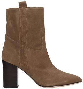 Paris Texas High Heels Ankle Boots In Beige Suede
